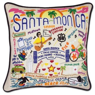 Santa Monica Hand Embroidered CatStudio Pillow