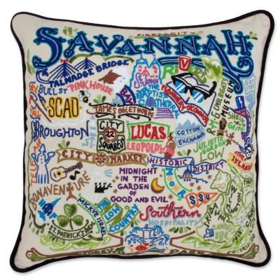 Savannah Hand Embroidered CatStudio Pillow