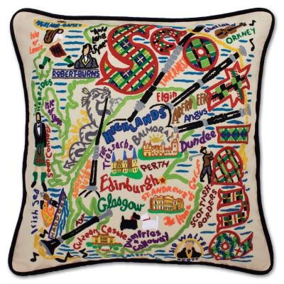 Scotland Hand Embroidered CatStudio Pillow