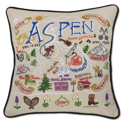 Ski Aspen Hand Embroidered CatStudio Pillow
