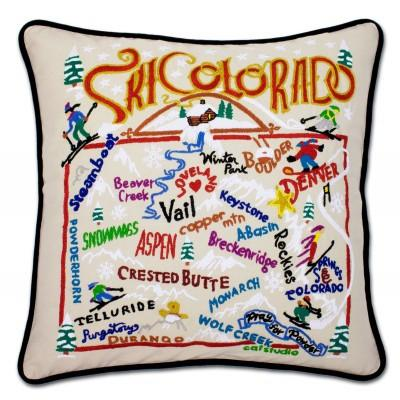 Ski Colorado Hand Embroidered CatStudio Pillow