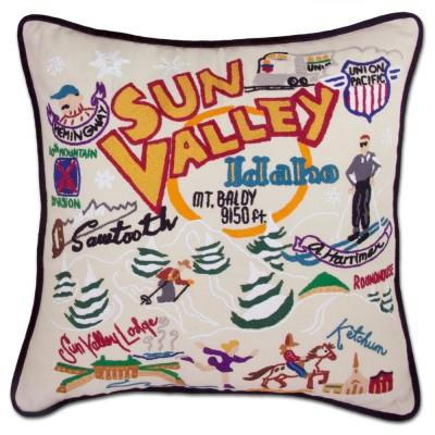 Ski Sun Valley Hand Embroidered CatStudio Pillow