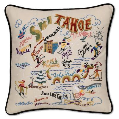 Ski Tahoe Hand Embroidered CatStudio Pillow
