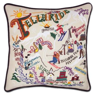 Ski Telluride Hand Embroidered CatStudio Pillow