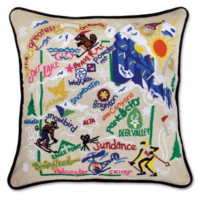 Ski Utah Hand Embroidered CatStudio Pillow