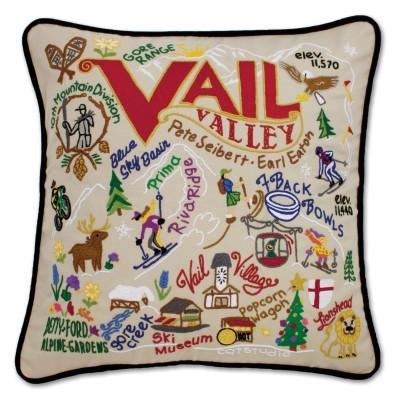 Ski Vail Hand Embroidered CatStudio Pillow