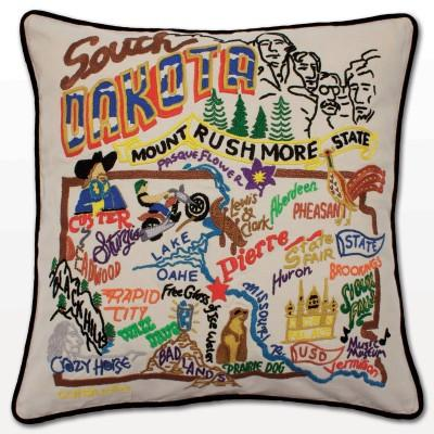 South Dakota Hand Embroidered CatStudio Pillow