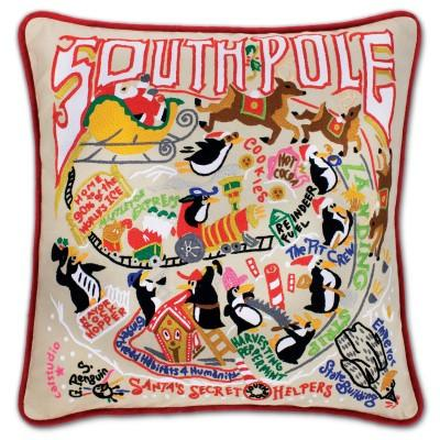 South Pole Hand Embroidered CatStudio Pillow