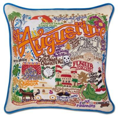 St. Augustine Hand Embroidered CatStudio Pillow