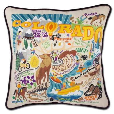 Summer Colorado Hand Embroidered CatStudio Pillow