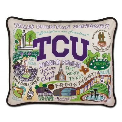 TCU Hand Embroidered CatStudio Pillow