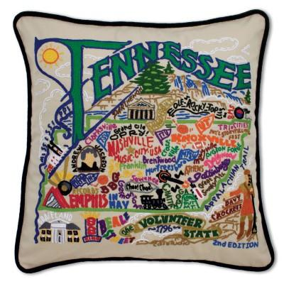 Tennessee Hand Embroidered CatStudio Pillow