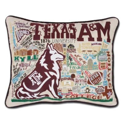 Texas A&M Hand Embroidered CatStudio Pillow