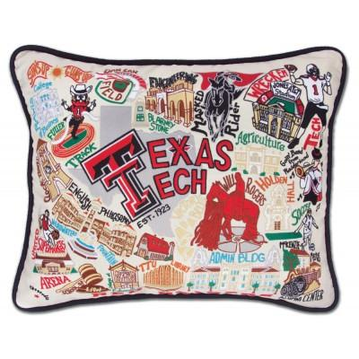 Texas Tech Hand Embroidered CatStudio Pillow