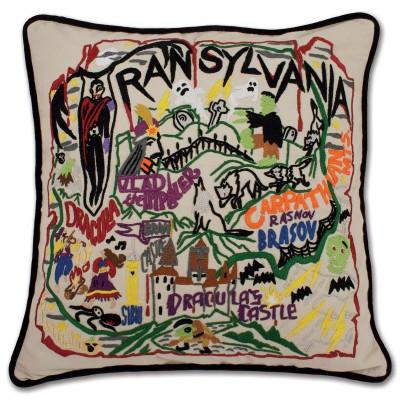Transylvania Hand Embroidered CatStudio Pillow