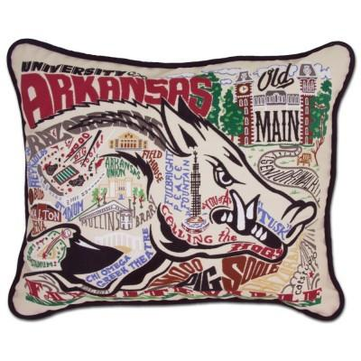 Arkansas University Hand Embroidered CatStudio Pillow