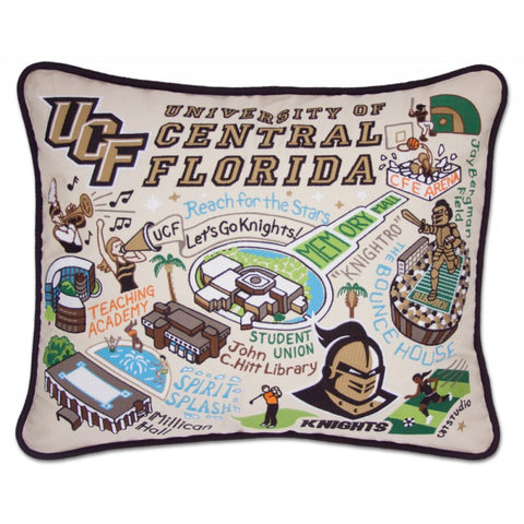 Central Florida University Hand Embroidered CatStudio Pillow