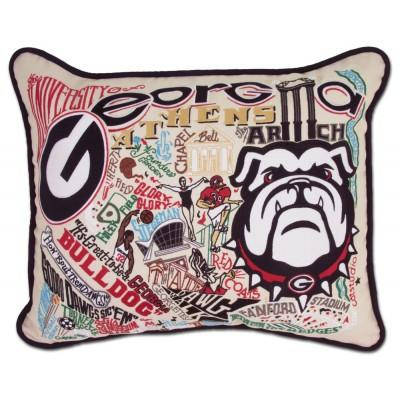 Georgia University Hand Embroidered CatStudio Pillow