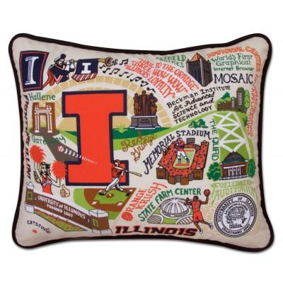 Illinois University Hand Embroidered CatStudio Pillow