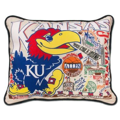Kansas University Hand Embroidered CatStudio Pillow