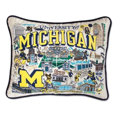 Michigan University Hand Embroidered CatStudio Pillow
