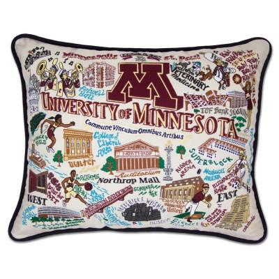 Minnesota University Hand Embroidered CatStudio Pillow