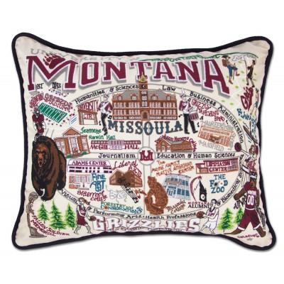 Montana University Hand Embroidered CatStudio Pillow