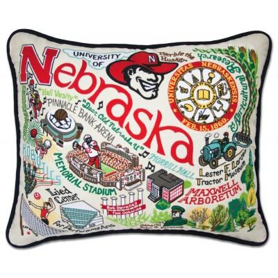 Nebraska University Hand Embroidered CatStudio Pillow