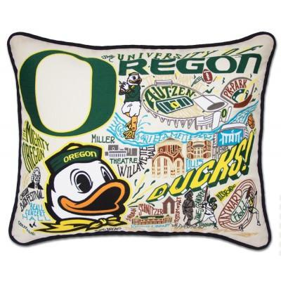 Oregon University Hand Embroidered CatStudio Pillow