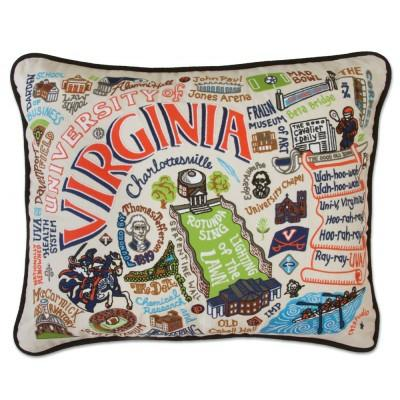 Virginia University Hand Embroidered CatStudio Pillow