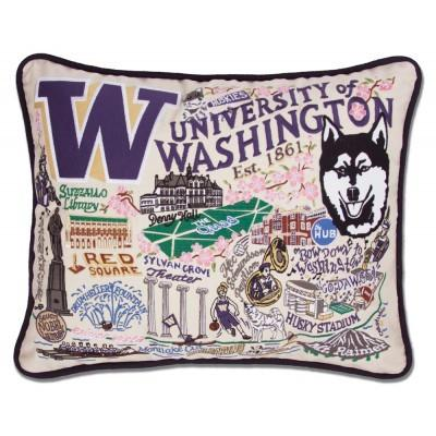 Washington University Hand Embroidered CatStudio Pillow