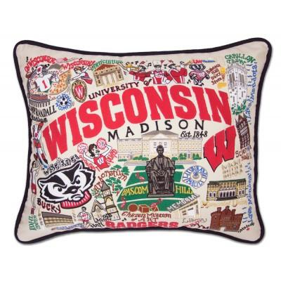 Wisconsin University Hand Embroidered CatStudio Pillow