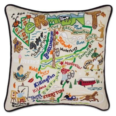 Vermont Hand Embroidered CatStudio Pillow