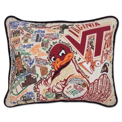 Virginia Tech Hand Embroidered CatStudio Pillow