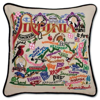 Virginia Hand Embroidered CatStudio Pillow
