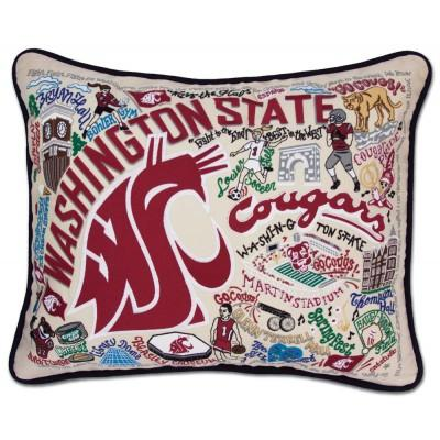 Washington State Hand Embroidered CatStudio Pillow