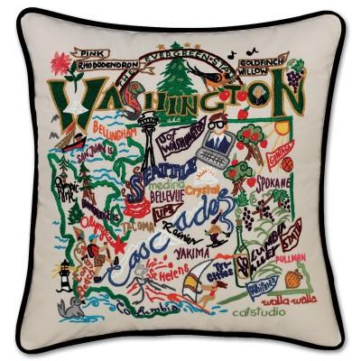 Washington Hand Embroidered CatStudio Pillow