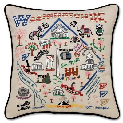 Washington DC Hand Embroidered CatStudio Pillow