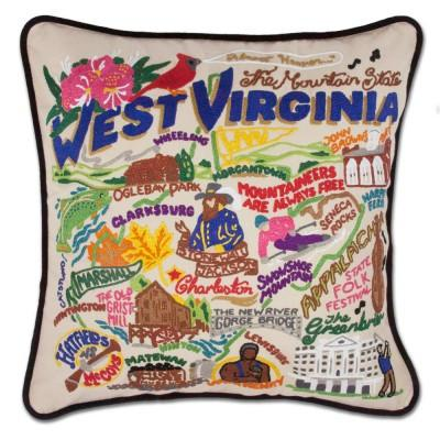 West Virginia Hand Embroidered CatStudio Pillow