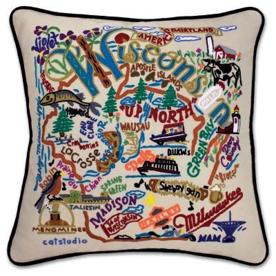 Wisconsin Hand Embroidered CatStudio Pillow