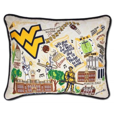 West Virginia University Hand Embroidered CatStudio Pillow