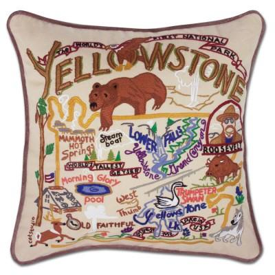 Yellowstone Hand Embroidered CatStudio Pillow