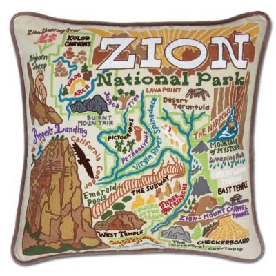 Zion Hand Embroidered CatStudio Pillow