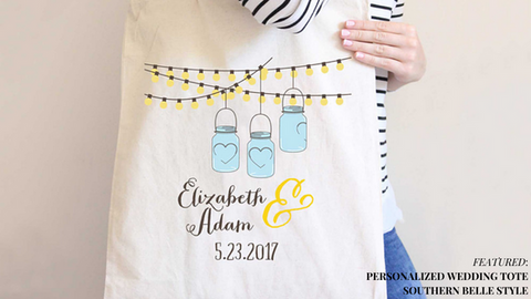 Personalized Wedding Tote Bag Southern Bell Style