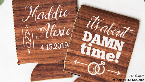 Wooden Style Koozie Wedding Favors