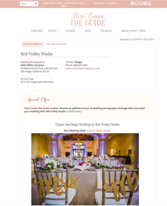 feature in wedding blog of chair signs