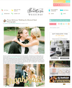 blog feature of gold thanks y'all sign from southern weddings