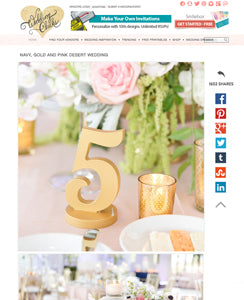 blog feature of gold wedding table numbers