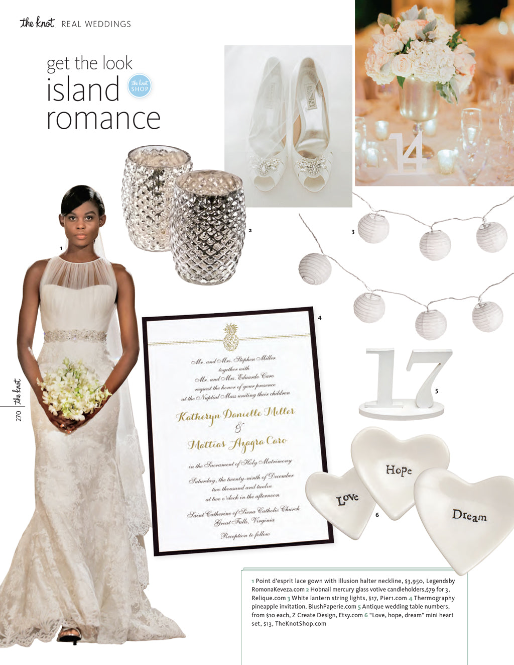 magazine feature of our white table numbers