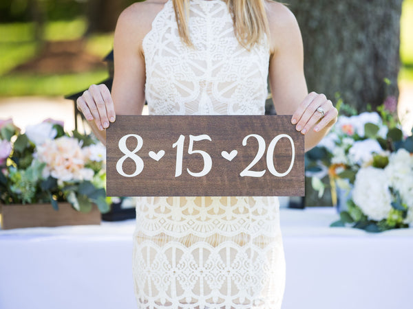 Wooden Date Sign for Wedding or Engagement